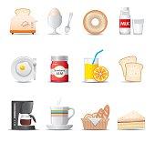 Set of cartoon breakfast food icons