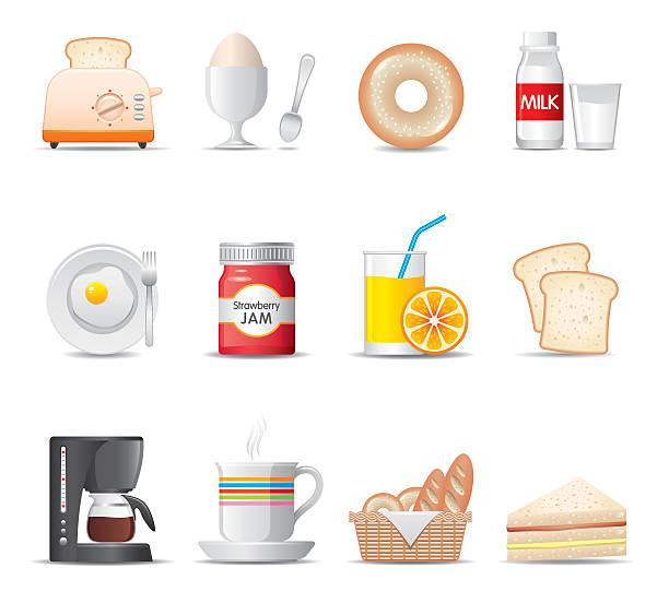 illustrazioni stock, clip art, cartoni animati e icone di tendenza di colazione icone set serie/elegante - fruit juice bottle isolated