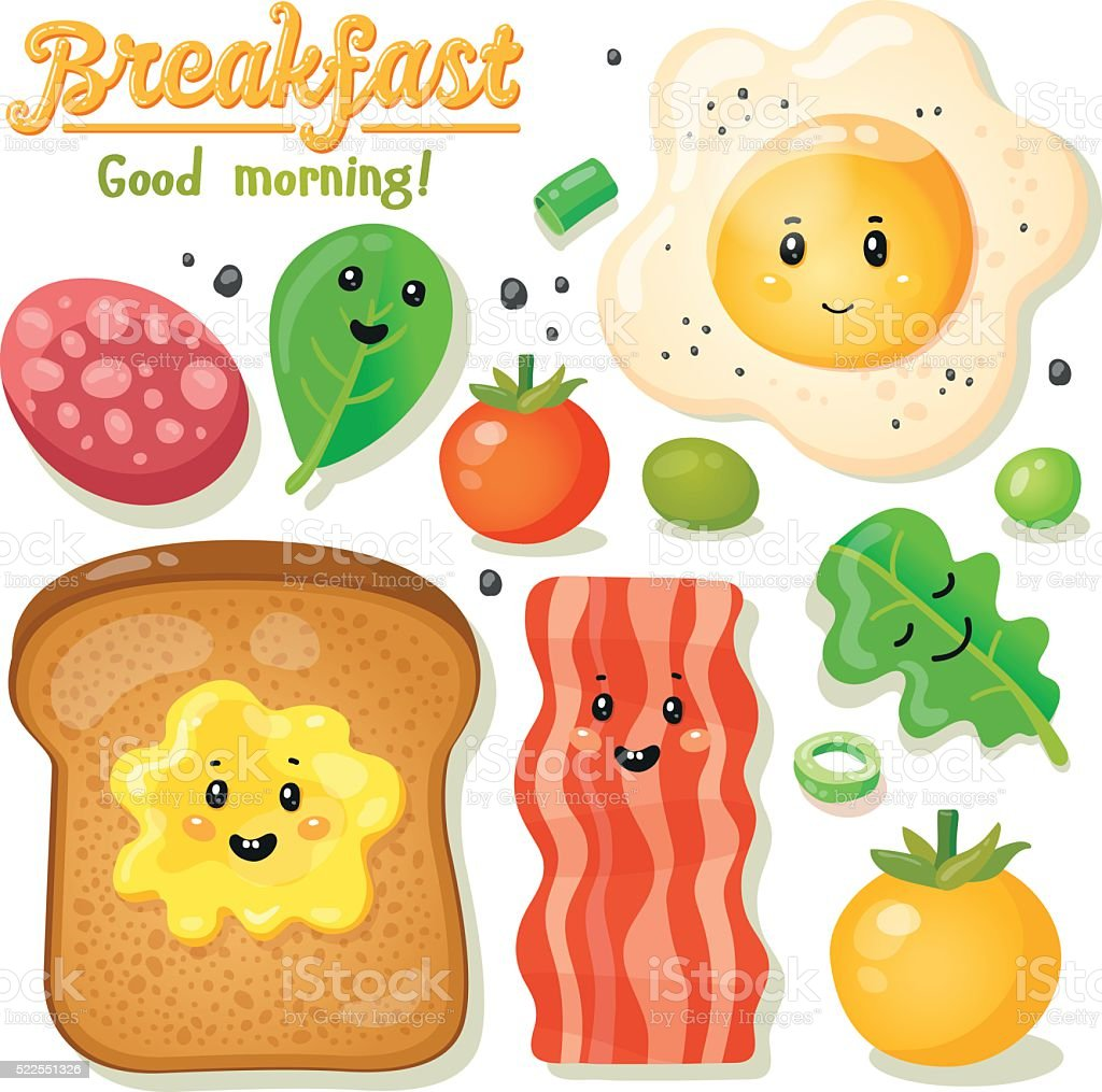 set of cartoon breakfast vector art illustration