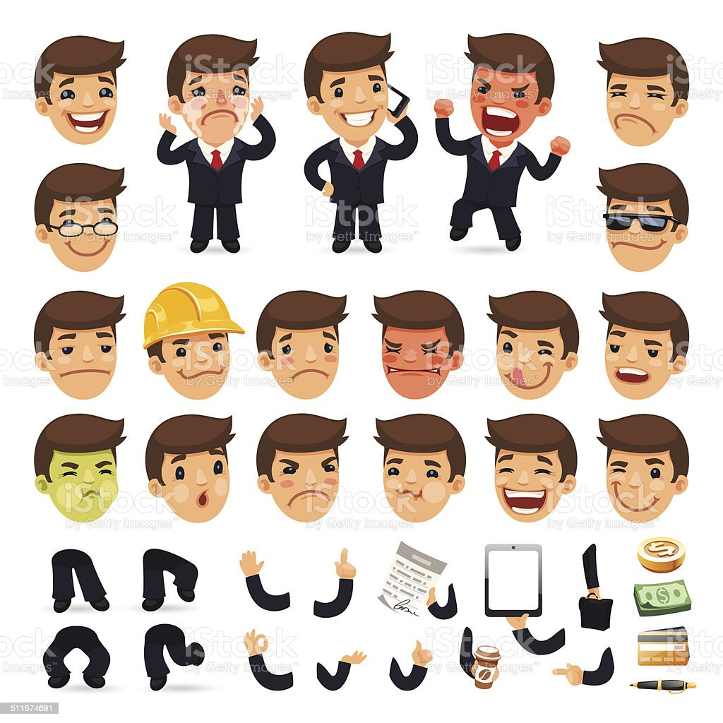 Set of Cartoon Businessman Character for Your Design vector art illustration