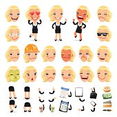 Set of Cartoon Businesswoman Character for Your Design or Aanima