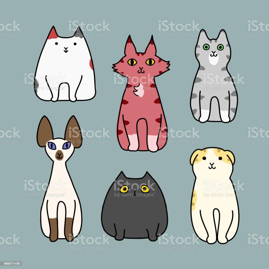 Satz Von Cartoon Katze Sitzend Stock Vektor Art und mehr Bilder von ...