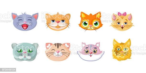 Set of cartoon cats heads stickers icons characters funny lovely vector id973449104?b=1&k=6&m=973449104&s=612x612&h=aek16eaomtz6onhkdbuojjc63zwuod yxo7lvmzdism=