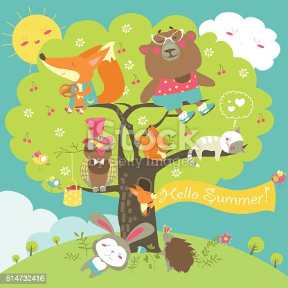 Cartoon characters and summer elements. Vector collection