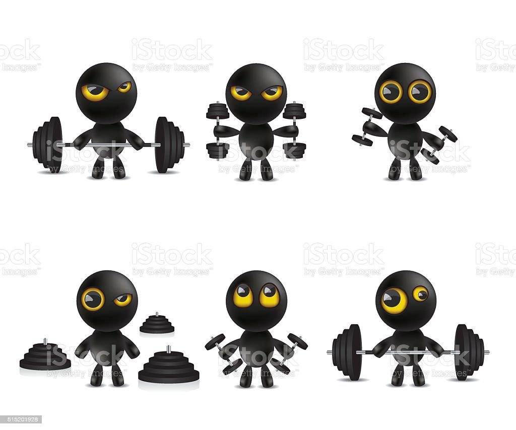 Vetores De Conjunto De Personagens De Desenhos Emoticon Com Pesos