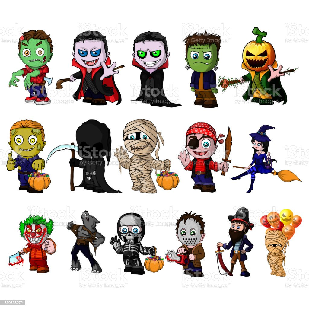 Set Of Cartoon Characters For Halloween Stock Illustration Download Image Now Istock