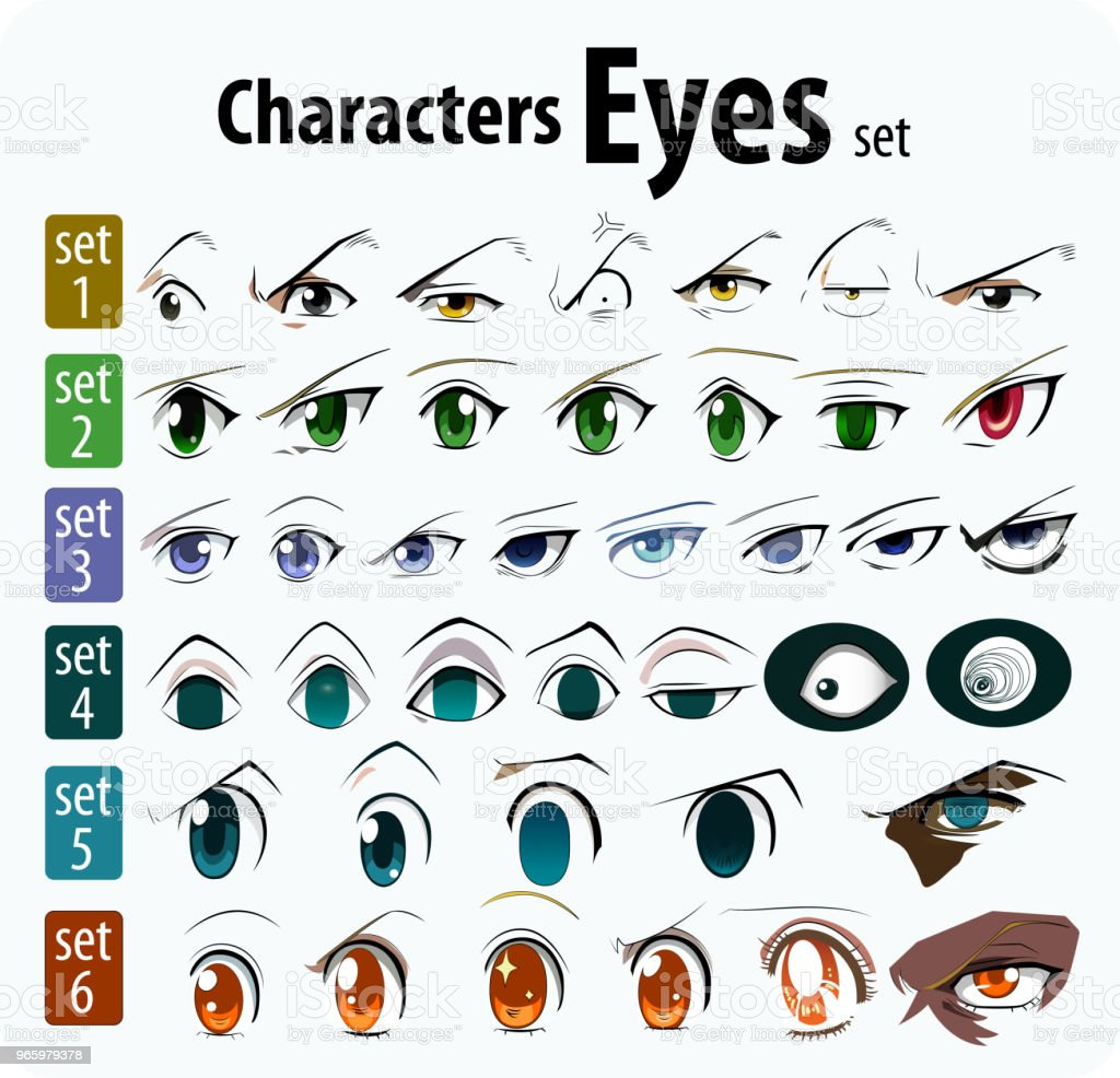 set of cartoon characters for the eyes - Royalty-free Adult stock vector