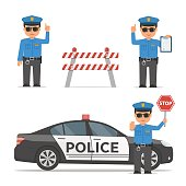 Set of cartoon characters of a police officer. Traffic policeman in different poses. Police car and police roadblock. Vector illustration in flat style.