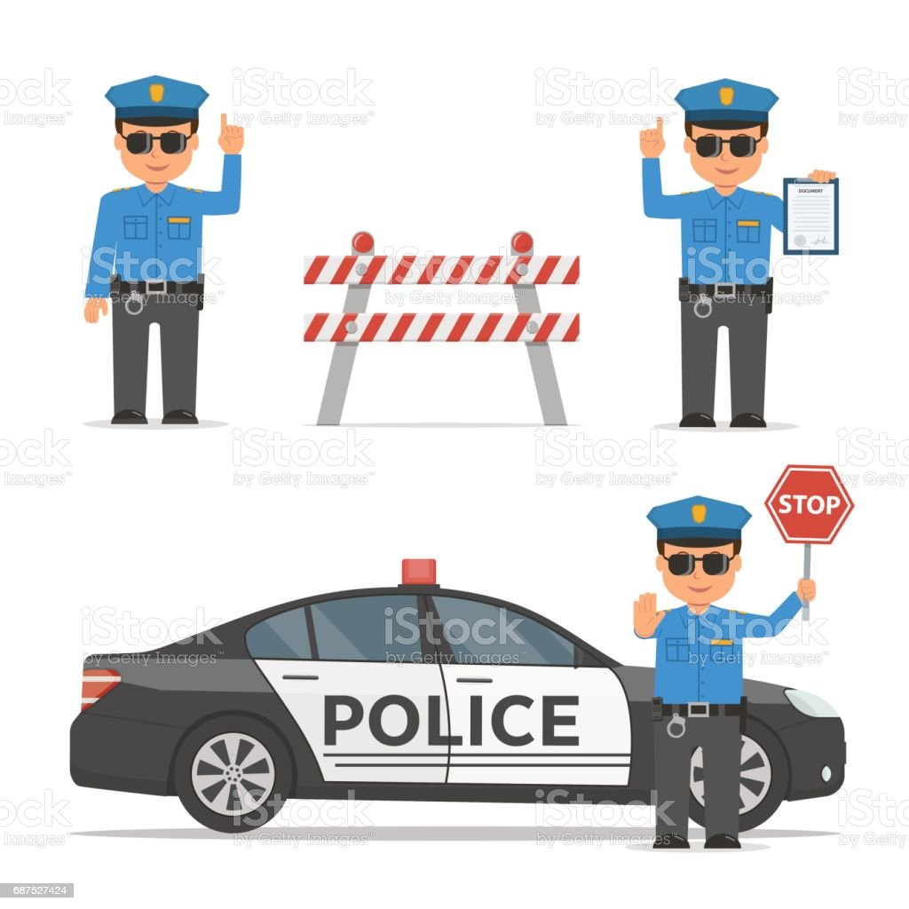 Set of cartoon characters of a police officer. Traffic policeman in different poses. Police car and police roadblock. vector art illustration