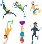 Set of cartoon characters. Underwater divers