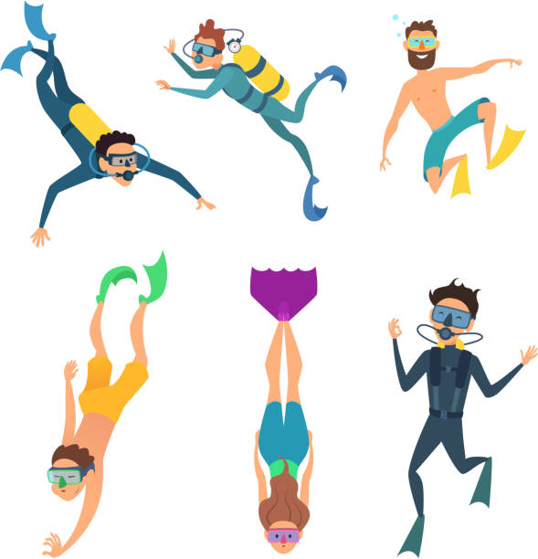 Set of cartoon characters. Underwater divers Set of cartoon characters. Underwater divers man and woman with snorkel and mask, vector illustration diving into water stock illustrations