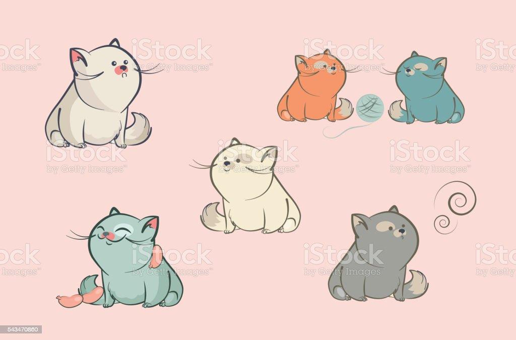 Set of cartoon characters vector cats vector art illustration