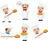 Vector illustration of  Set of cartoon chef on white background