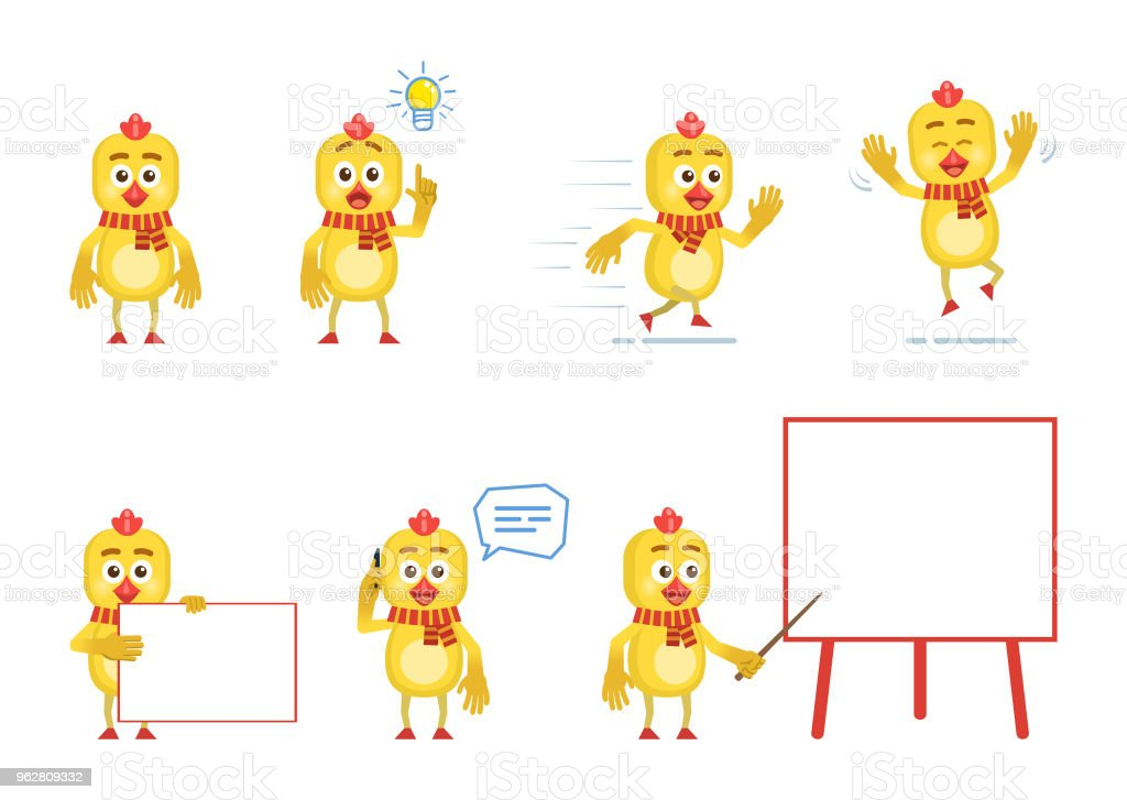 Set of cartoon chicken characters posing in different situations - arte vettoriale royalty-free di Allegro
