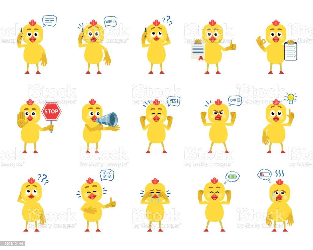 Conjunto de caracteres de frango cartoon mostrando diversas ações, emoções - Vetor de Amarelo royalty-free