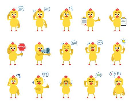 Vetores de Conjunto De Caracteres De Frango Cartoon Mostrando Diversas Ações Emoções e mais imagens de Amarelo