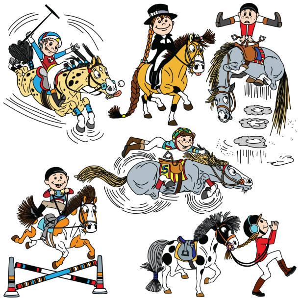 馬に乗って漫画の子供のセット - 乗馬点のイラスト素材/クリップアート素材/マンガ素材/アイコン素材