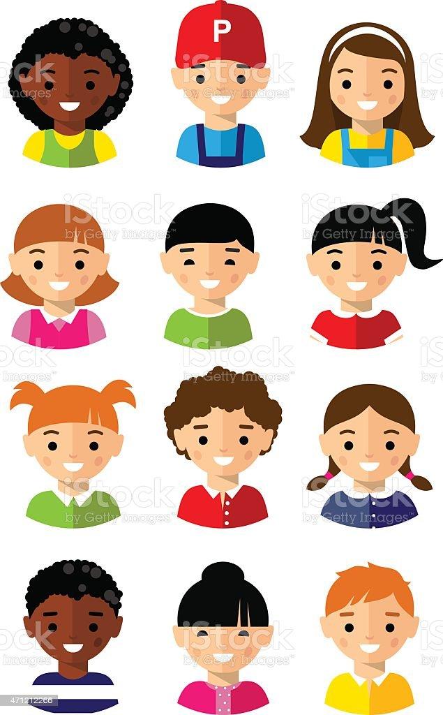 Set of cartoon children face icons vector art illustration