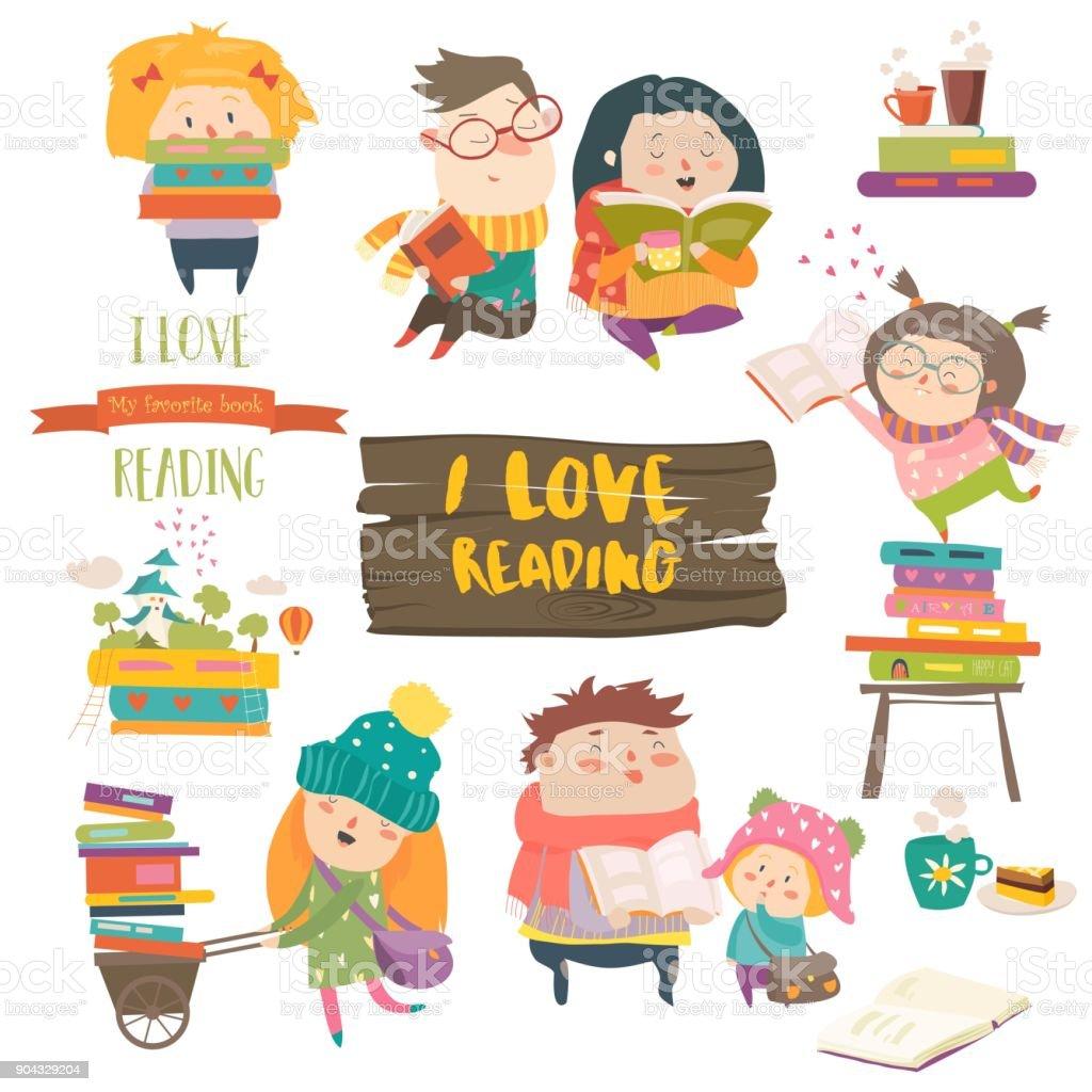 Set of cartoon children reading books