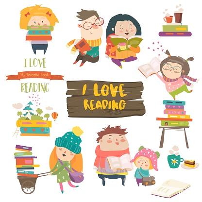 Set Cartoon Kinderen Lezen Van Boeken Stockvectorkunst en meer beelden van Aan het werk
