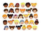 Set of cartoon children's faces. Cartoon child face icon