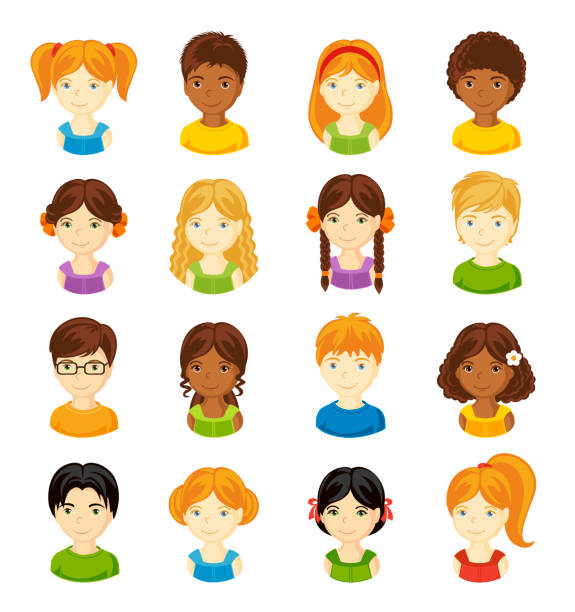 stockillustraties, clipart, cartoons en iconen met set van cartoon kinderen gezichten. - blond curly hair
