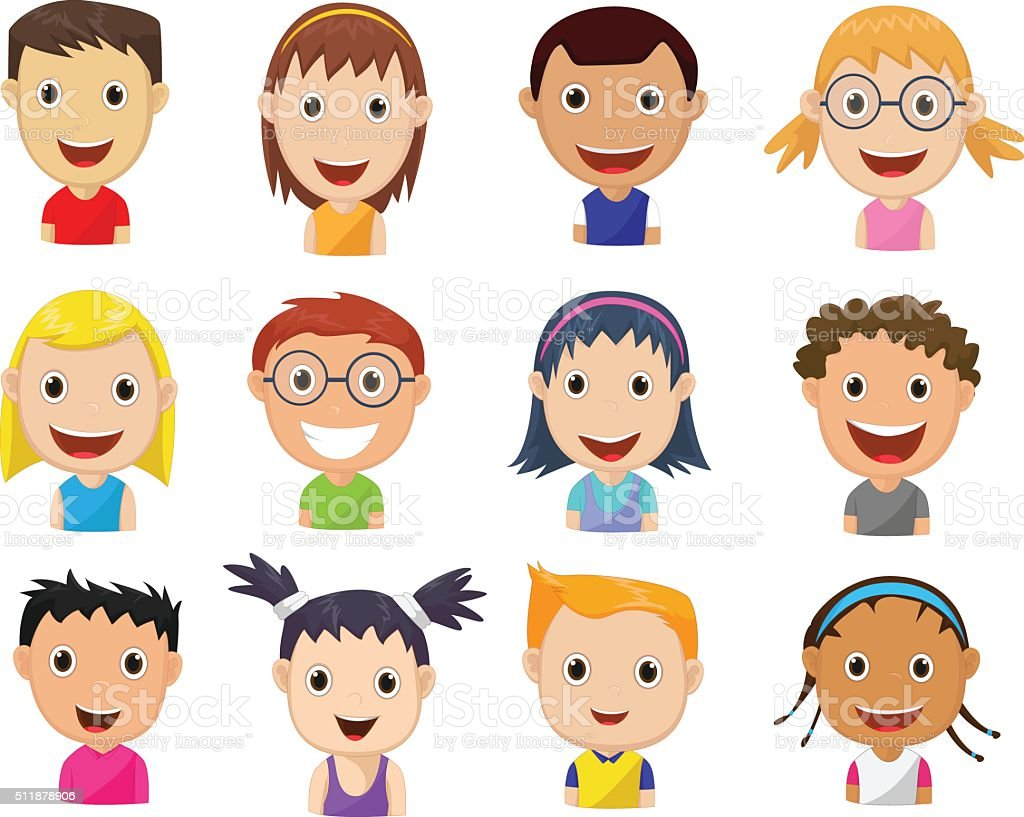 Set Of Cartoon Childrens Faces Stock Vector Art & More