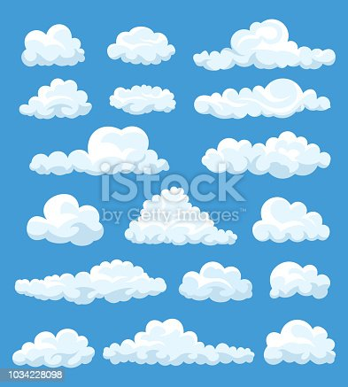 Big set of vector cartoon clouds. 17 different cloud.