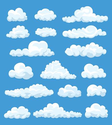 Set Of Cartoon Clouds - Stockowe grafiki wektorowe i więcej obrazów Abstrakcja