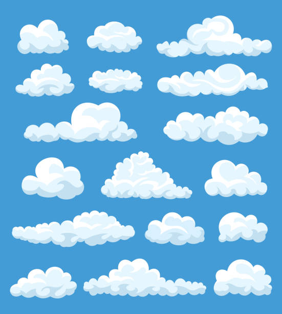 set of cartoon clouds - chmura stock illustrations