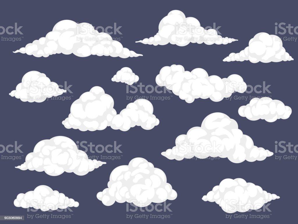 Set of cartoon clouds vector art illustration