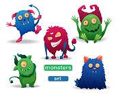 Vector image. Set of cartoon colored Halloween monsters