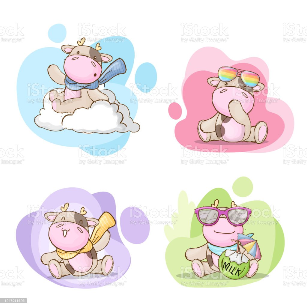 Vector Illustration Of Cartoon Kids With Cow Royalty Free Cliparts,  Vectors, And Stock Illustration. Image 99291451.