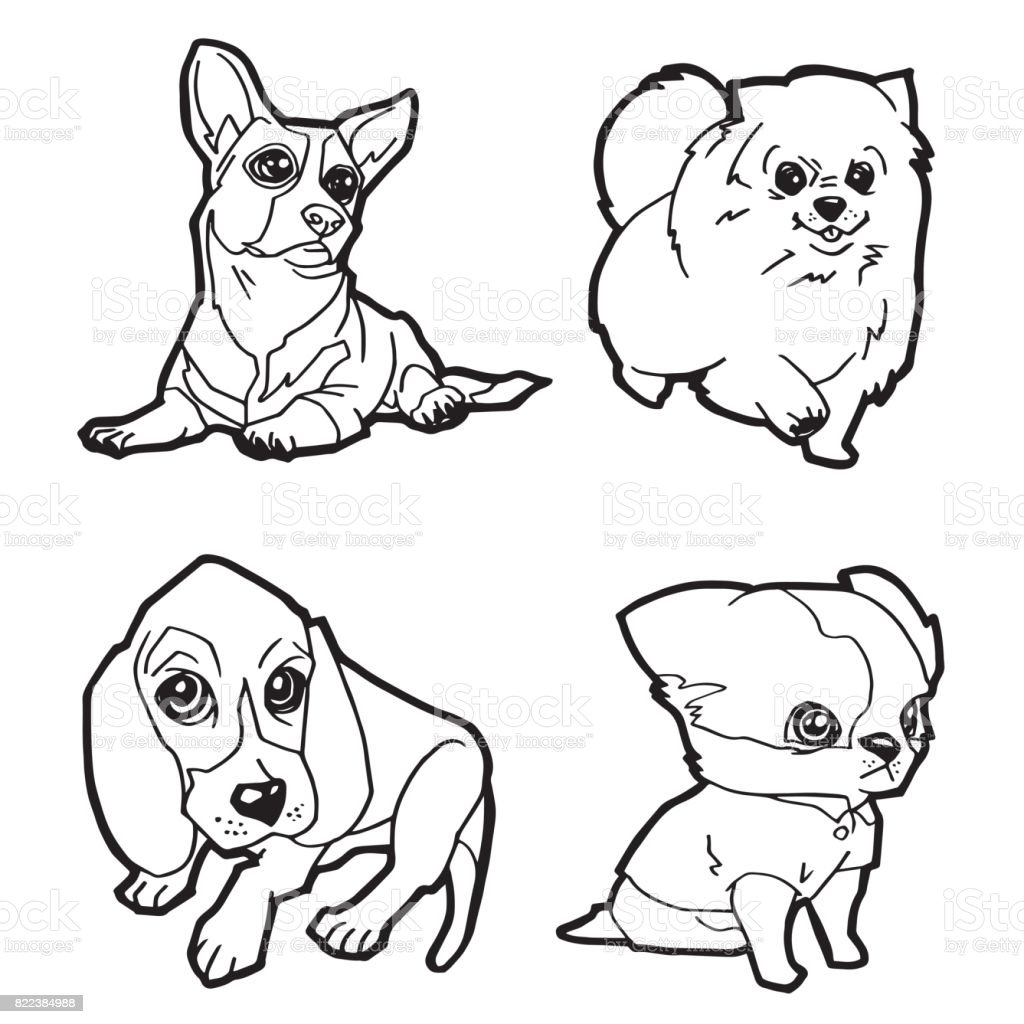 set of cartoon cute dog coloring page vector illustration royalty free stock vector art