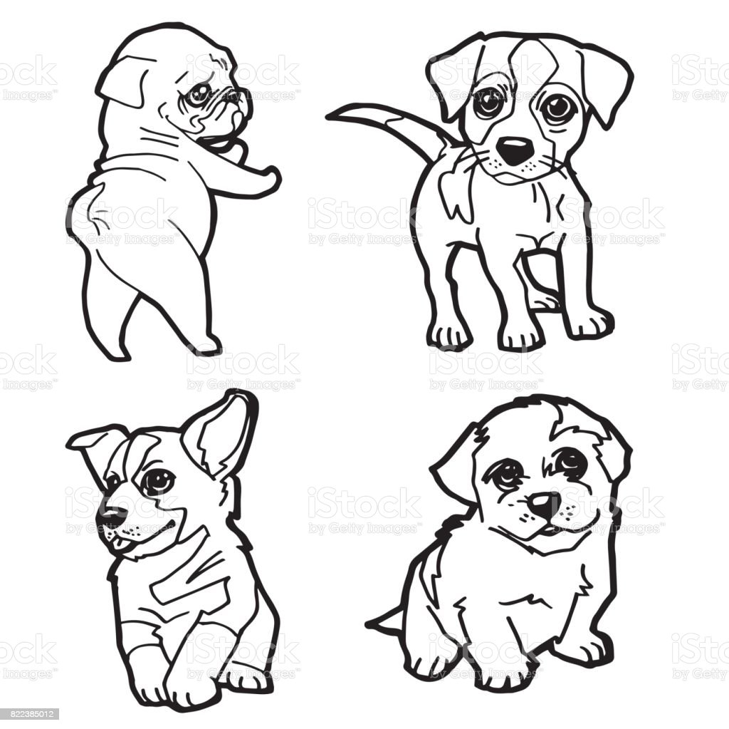 Set Of Cartoon Cute Dog Coloring Page Vector Illustration Royalty Free