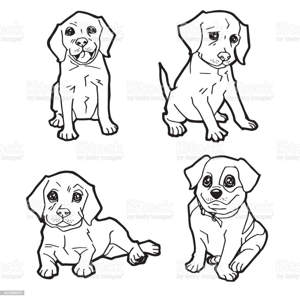 Ilustración De Juego De Perro Lindo De Dibujos Animados Para