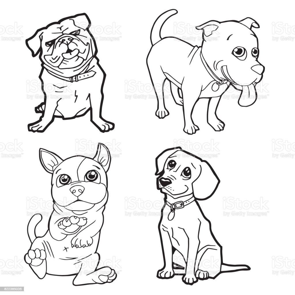 Karikatür Sevimli Köpek Sayfa Vektör çizim Boyama Seti Stok Vektör