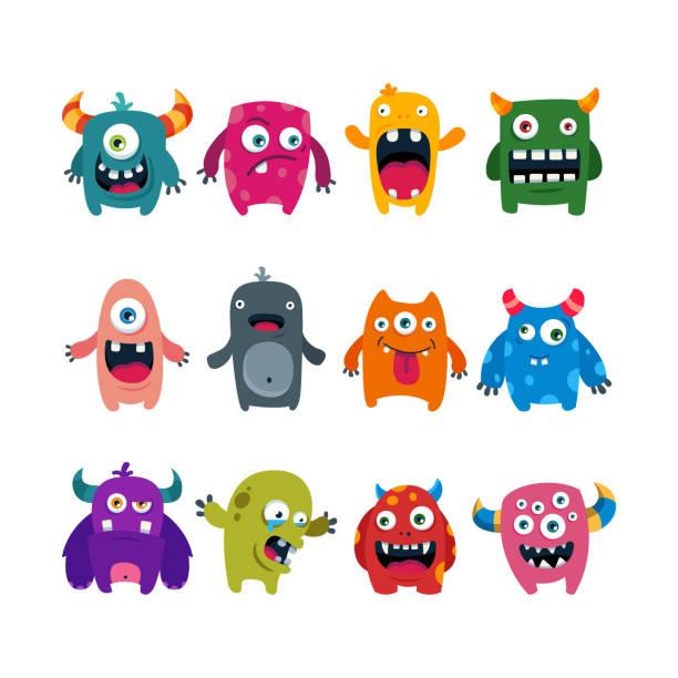 ilustraciones, imágenes clip art, dibujos animados e iconos de stock de conjunto de monstruos lindos de dibujos animados. ilustración vectorial plana - monstruo