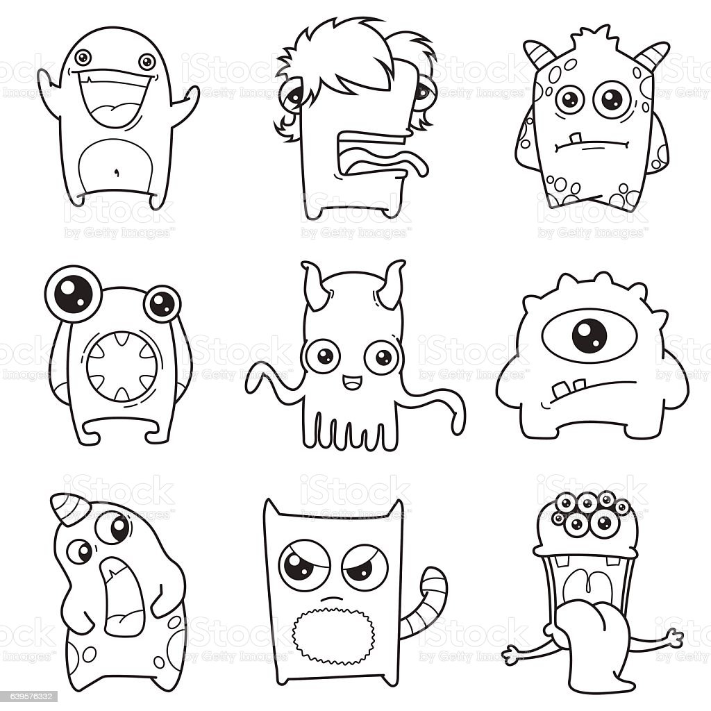 set of cartoon cute monsters outline vector art illustration