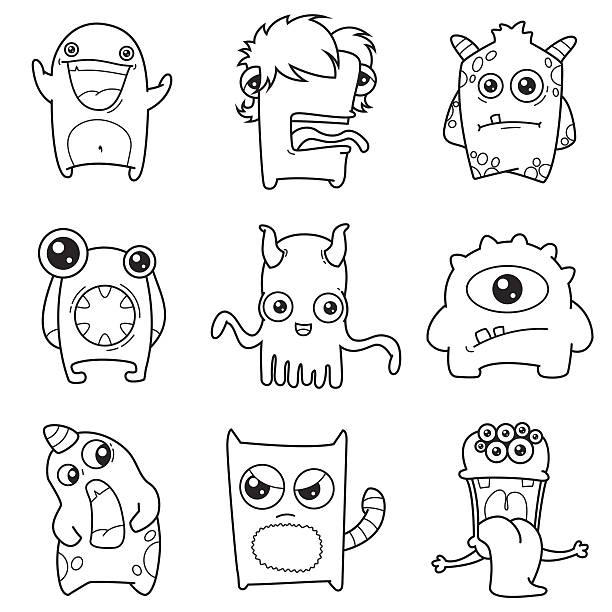 set of cartoon cute monsters outline vector art illustration