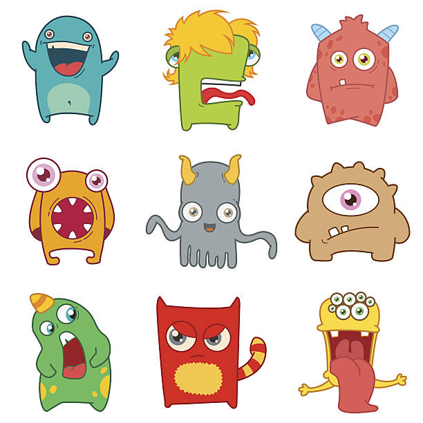 set of cartoon cute monsters - cartoon monsters stock illustrations, clip art, cartoons, & icons