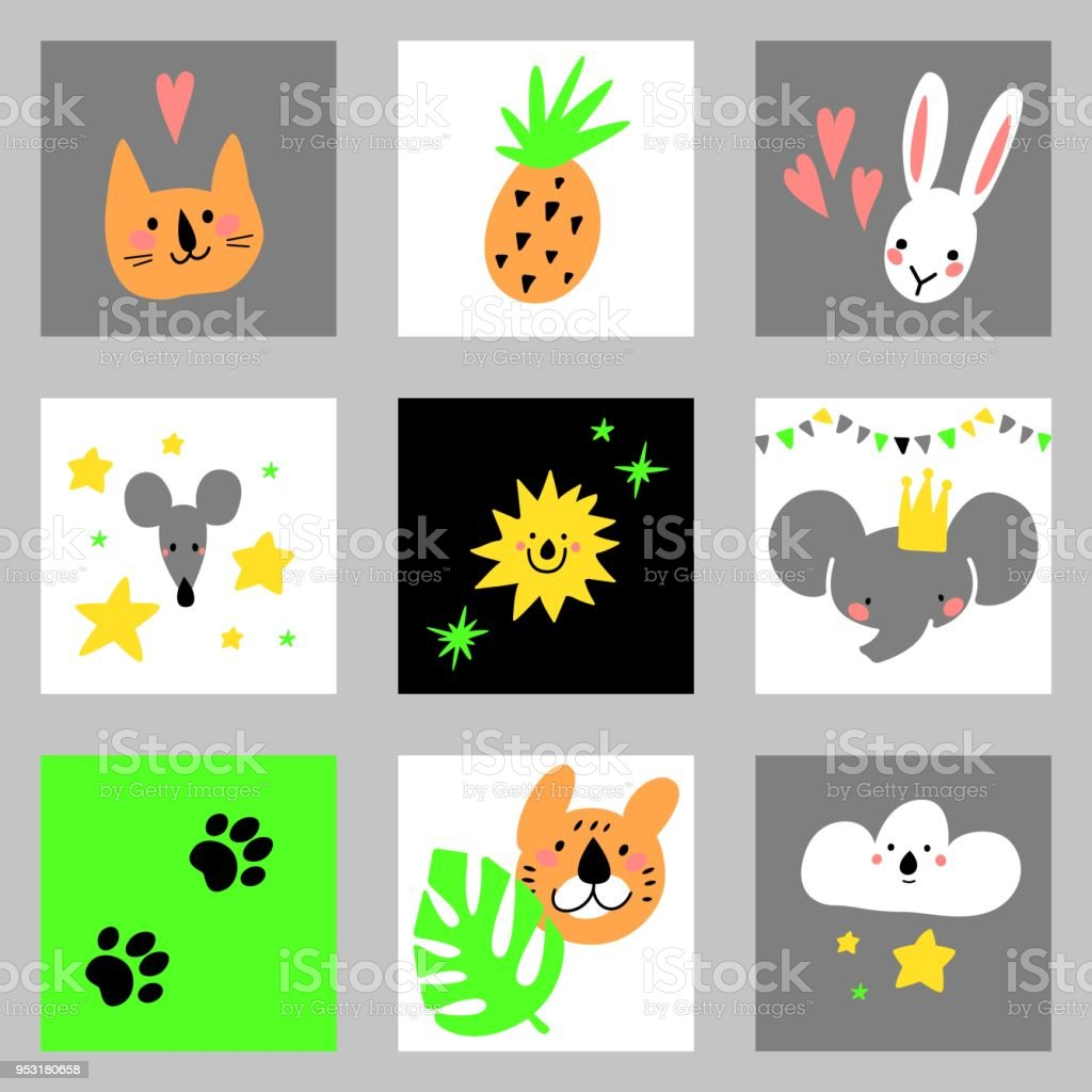 Conjunto de elementos de design dos desenhos animados com animais. Para cartões postais, convites, indústria da moda. Handdrawn coleção de filhos. - ilustração de arte em vetor