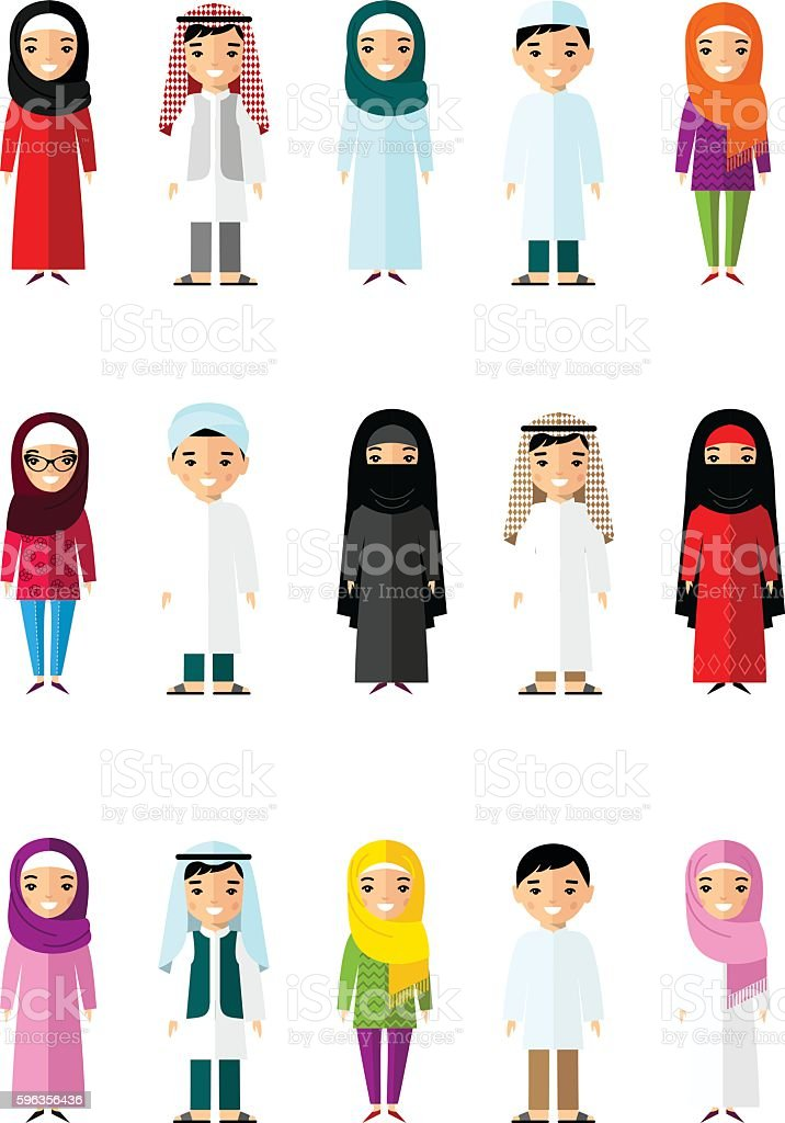 Set of cartoon different arab people in flat style. royalty-free set of cartoon different arab people in flat style stock vector art & more images of adult