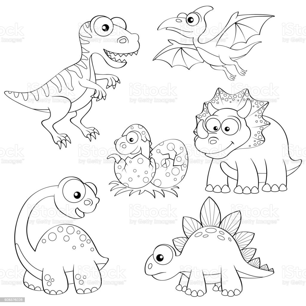 Set Of Cartoon Dinosaurs Cute Dino
