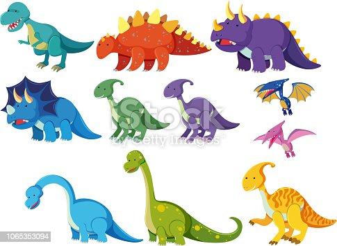 Set of cartoon dinosaurs illustration