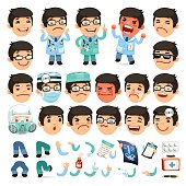 Set of Cartoon Doctor Character for Your Design or Animation. Isolated on White Background. Clipping paths included in additional jpg format.
