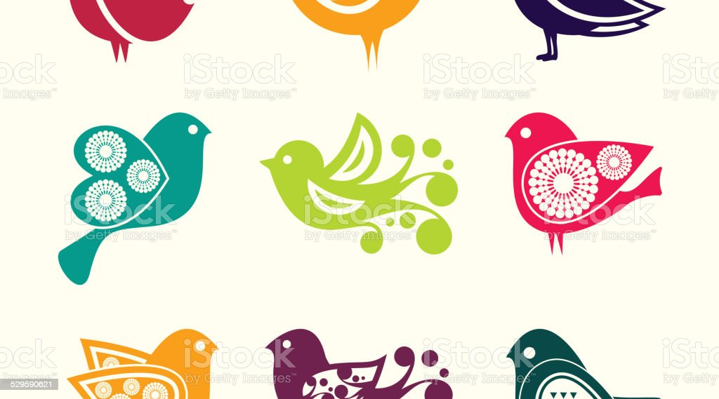 Set of cartoon doodle birds icons vector art illustration