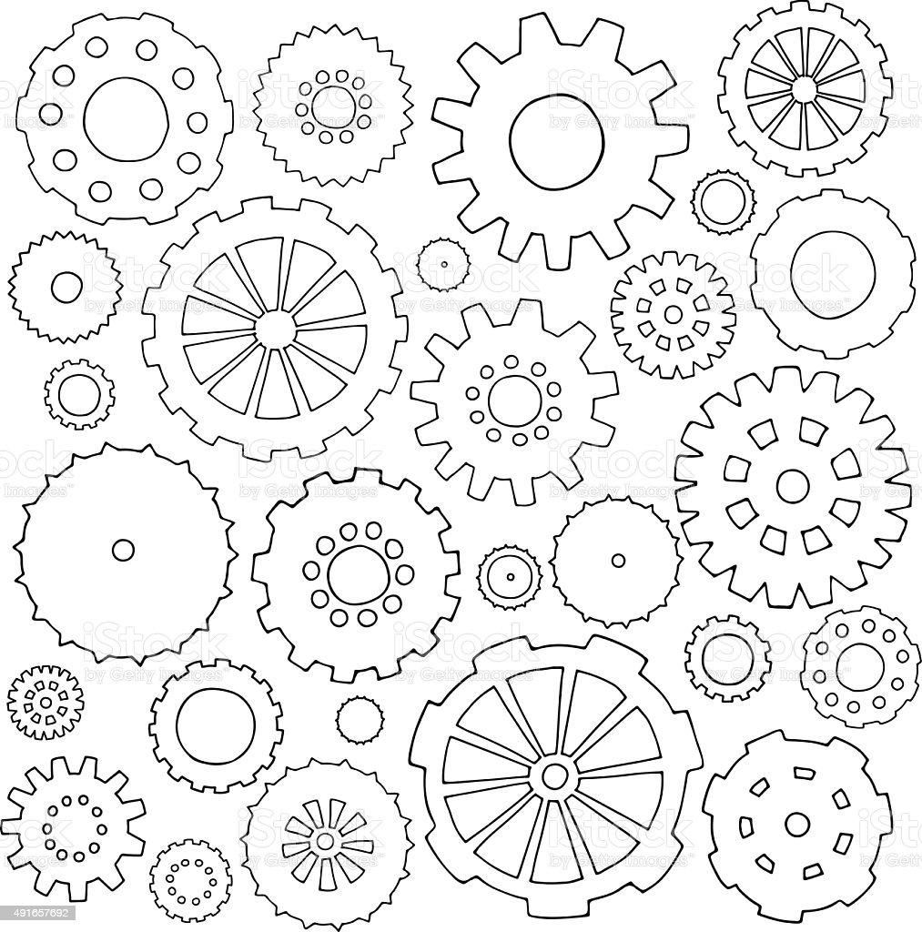 Set of cartoon doodle gears vector art illustration