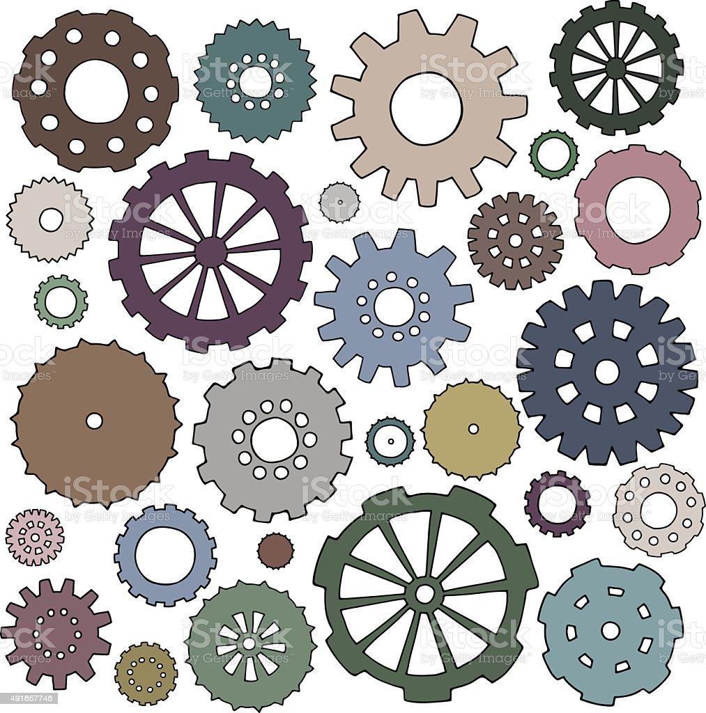 Set of cartoon doodle gears. vector art illustration