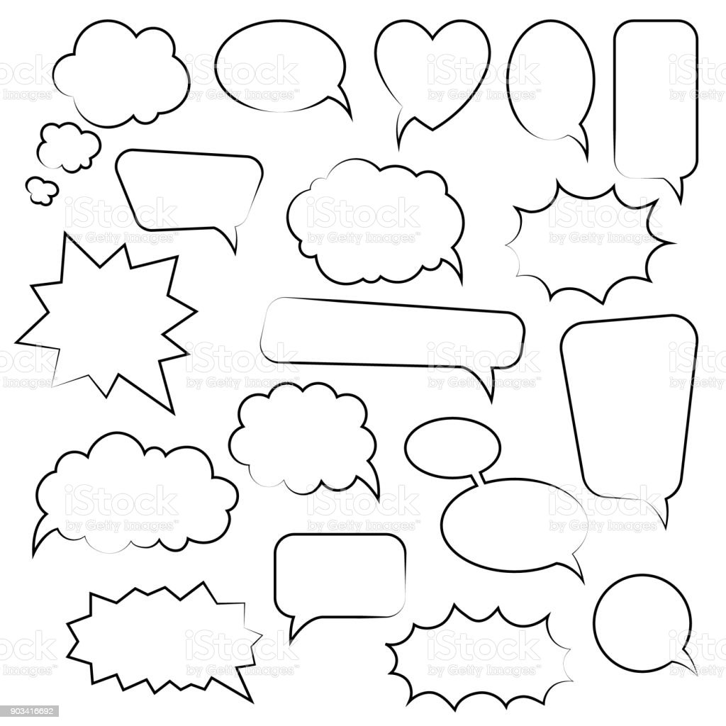 Set Of Cartoon Doodle Speech Bubbles Template For Advertising Comics Web Design Printing Stock Illustration Download Image Now Istock